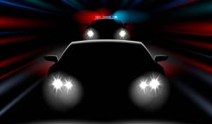 realistic fast police car chases the car, vector illustration